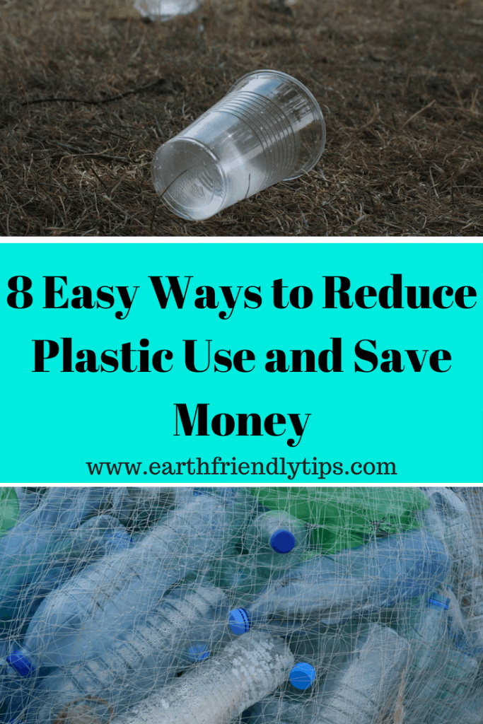 Plastic cup on ground and bag of plastic bottles text overlay 8 Easy Ways to Reduce Plastic Use