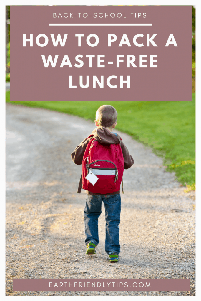 Boy with backpack walking down road text overlay How to Pack a Waste-Free Lunch