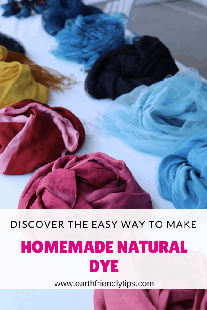 Piles of dyed fabric with text overlay Discover the Easy Way to Make Homemade Natural Dye