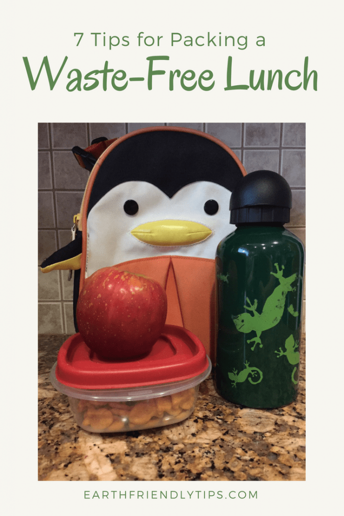 Lunch box, water bottle, apple, food container with text overlay 7 Tips for Packing a Waste-Free Lunch
