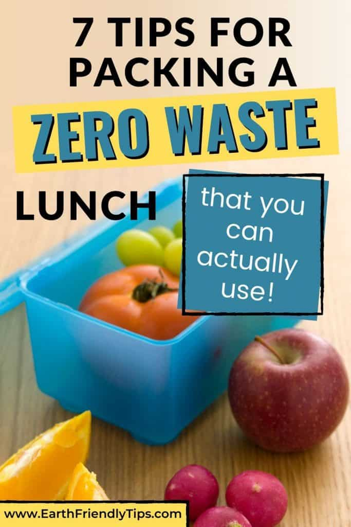 Fruits in lunch box text overlay 7 Tips for Packing a Zero Waste Lunch