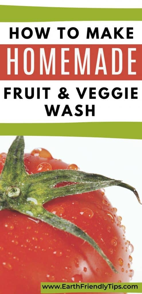 Tomato with water droplets text overlay How to Make Homemade Fruit & Veggie Wash