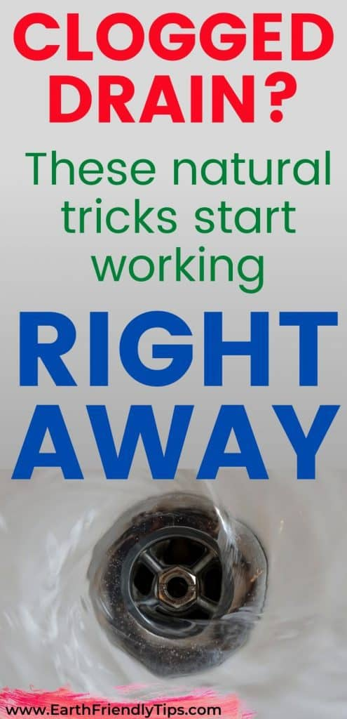 Water going down drain text overlay Natural Tricks to Clear Clogged Drain