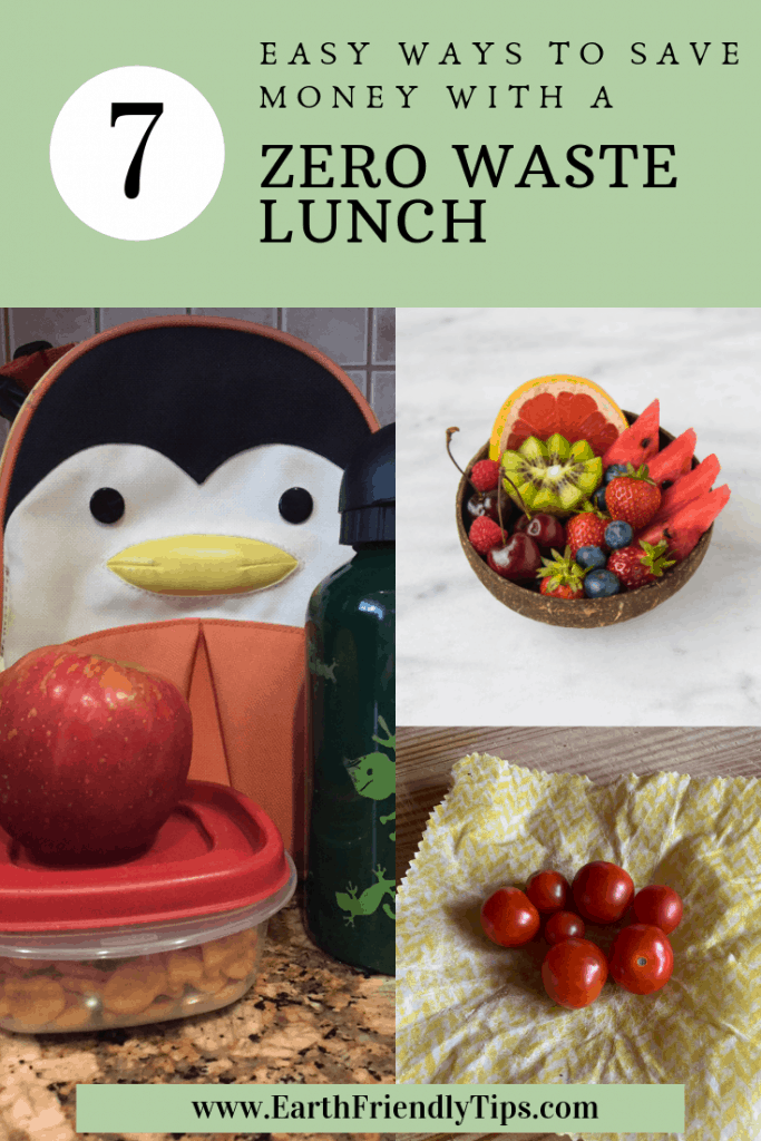 Lunch box, fruit bowl, tomatoes with text overlay 7 Easy Ways to Save Money With a Zero Waste Lunch