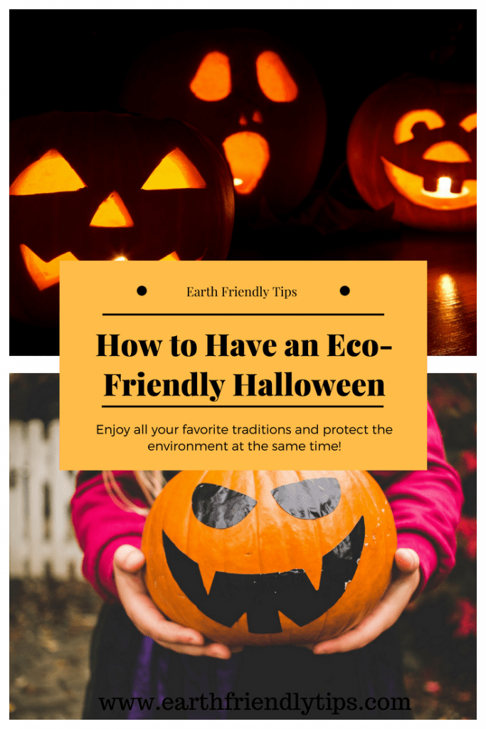 Jack-o-lanterns and young child holding pumpkin with text overlay How to Have an Eco-Friendly Halloween