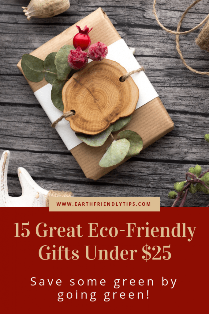 Gift wrapped in brown kraft paper with text overlay 15 Great Eco-Friendly Gifts Under $25