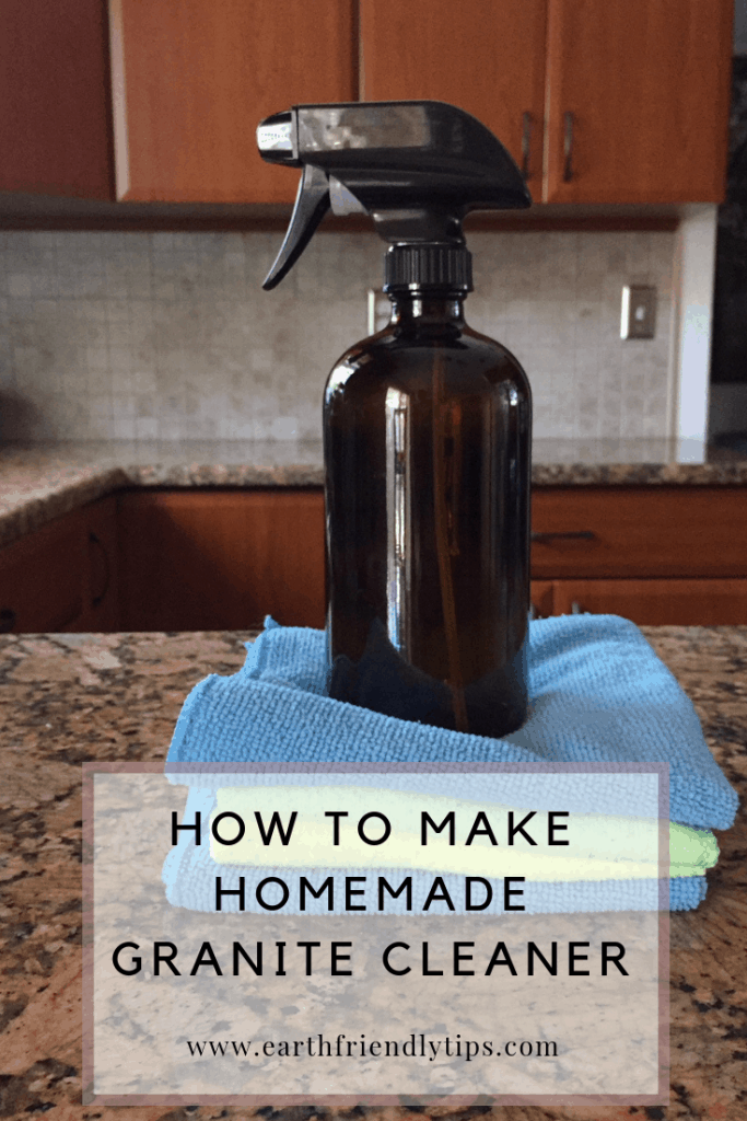 Glass spray bottle with text overlay How to Make Homemade Granite Cleaner