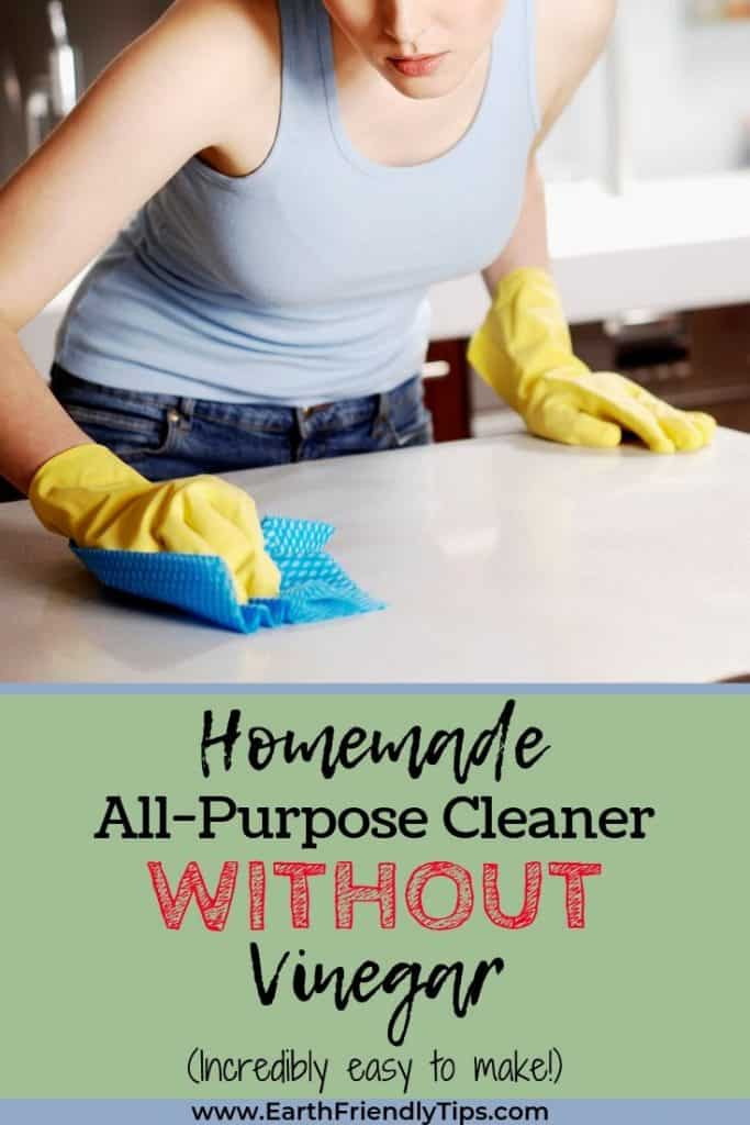 Woman wiping counter text overlay Homemade All-Purpose Cleaner Without Vinegar