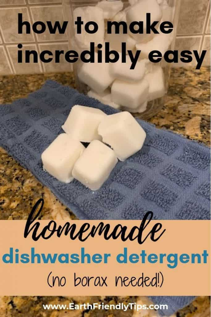 Dishwasher tablets on towel with text overlay How to Make Incredibly Easy Homemade Dishwasher Detergent