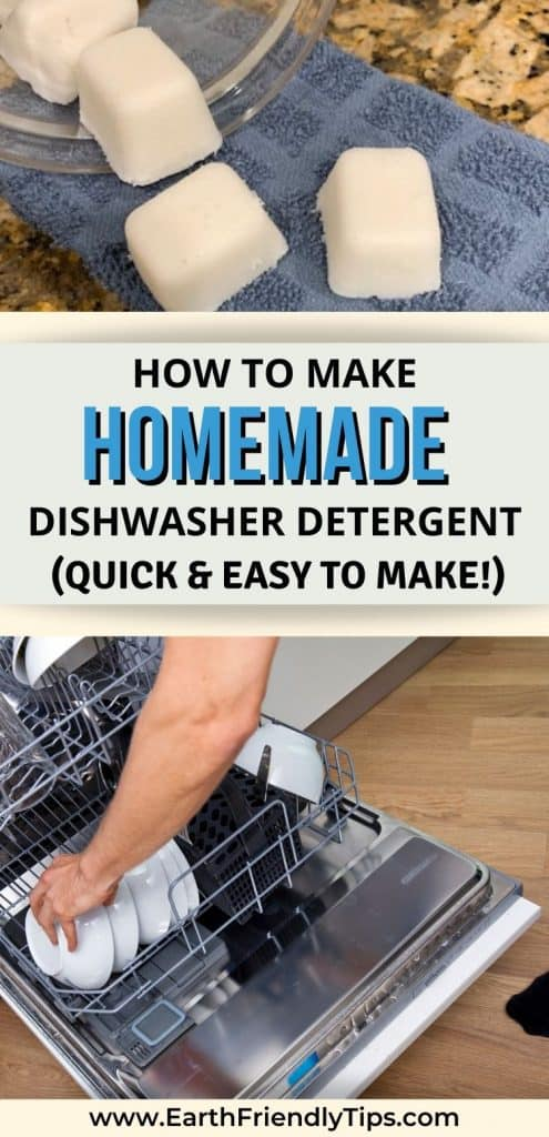 DIY dishwasher tablets and dishwasher text overlay How to Make Homemade Dishwasher Detergent