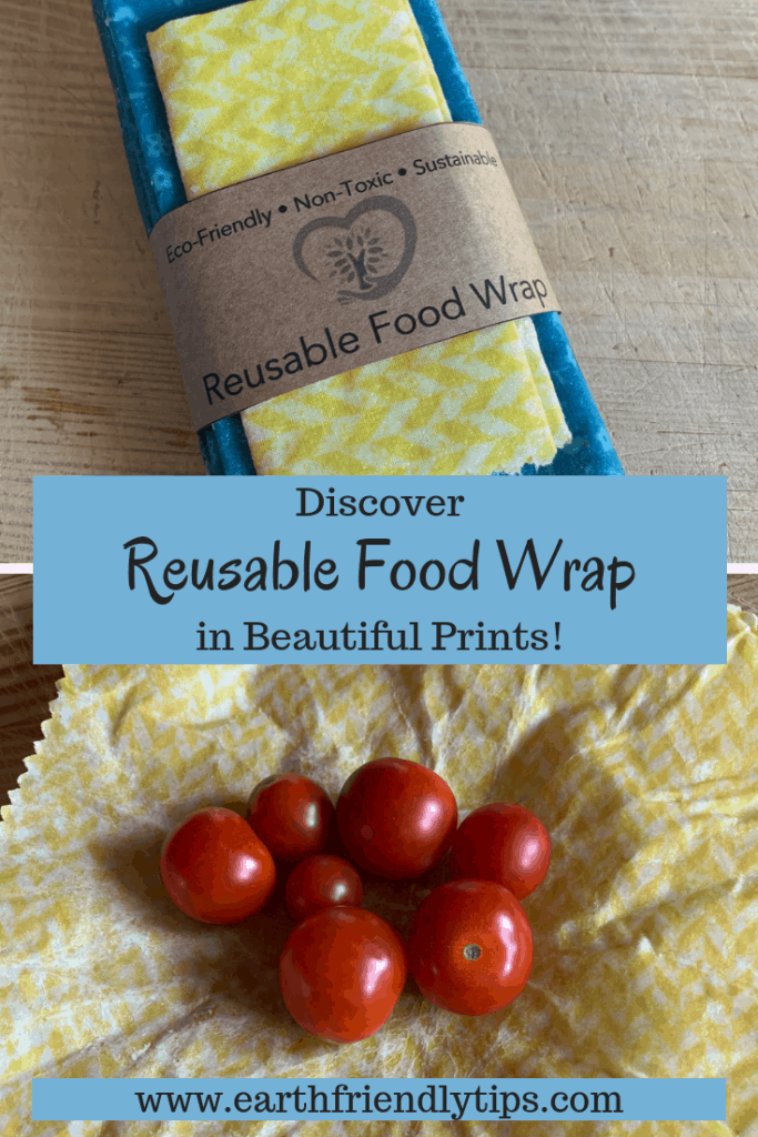 Pack of reusable food wrap and beeswax food wrap holding tomatoes
