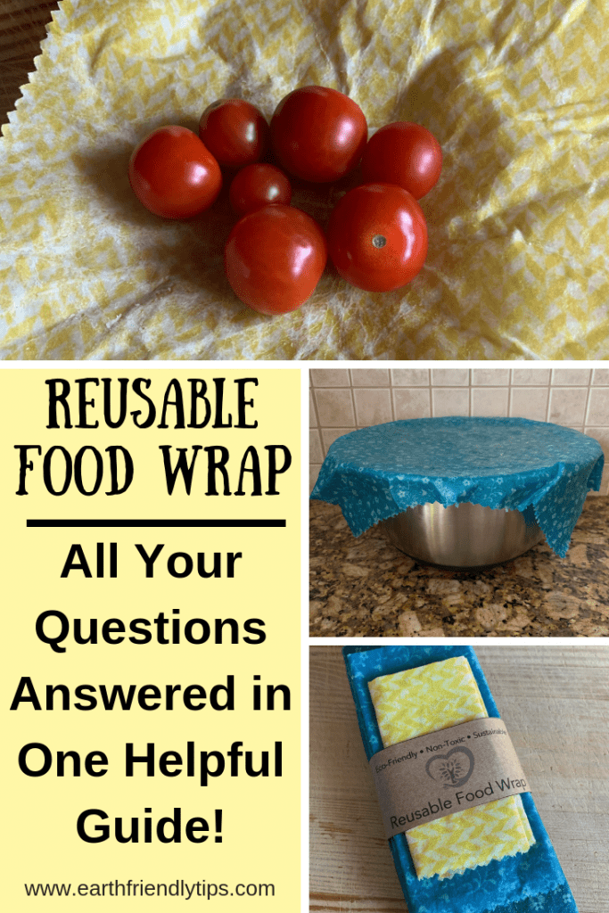 Reusable food wrap with tomatoes, beeswax food wrap covering bowl, pack of reusable food wrap