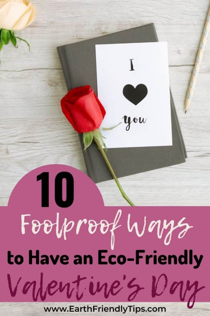 Roses and journal with text overlay 10 Foolproof Ways to Have an Eco-Friendly Valentine's Day