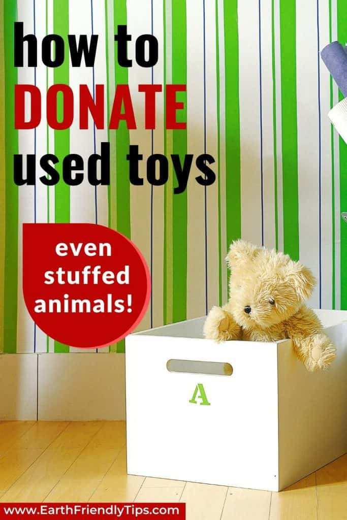 Box with stuffed teddy bear text overlay How to Donate Used Toys