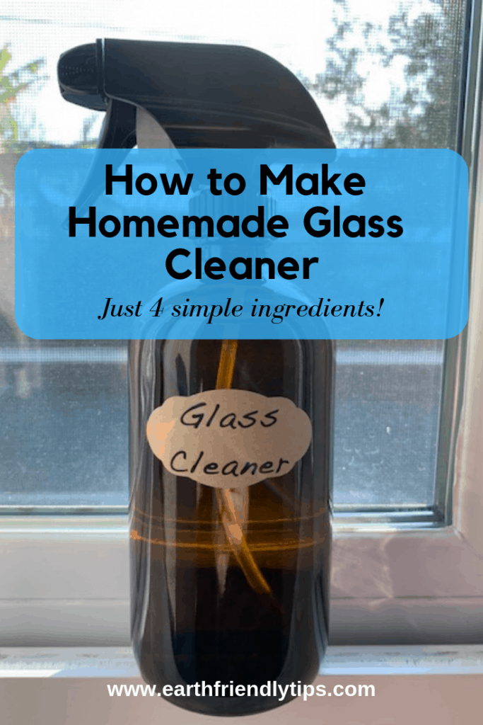 Bottle of DIY glass cleaner text overlay How to Make Homemade Glass Cleaner