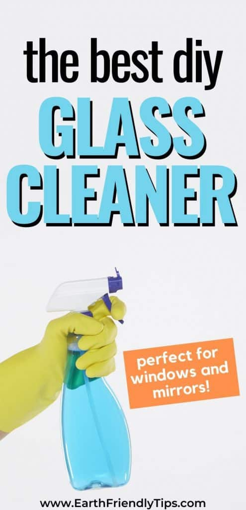 Hand holding glass cleaner text overlay The Best DIY Glass Cleaner