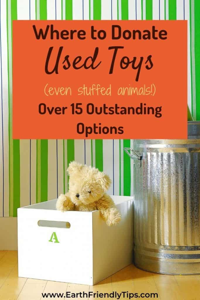 Teddy bear in box next to trash can text overlay Where to Donate Used Toys