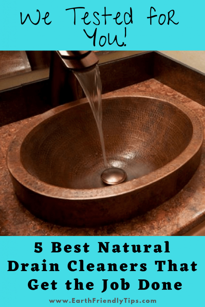 Bronze sink with water flowing text overlay 5 Best Natural Drain Cleaners That Get the Job Done