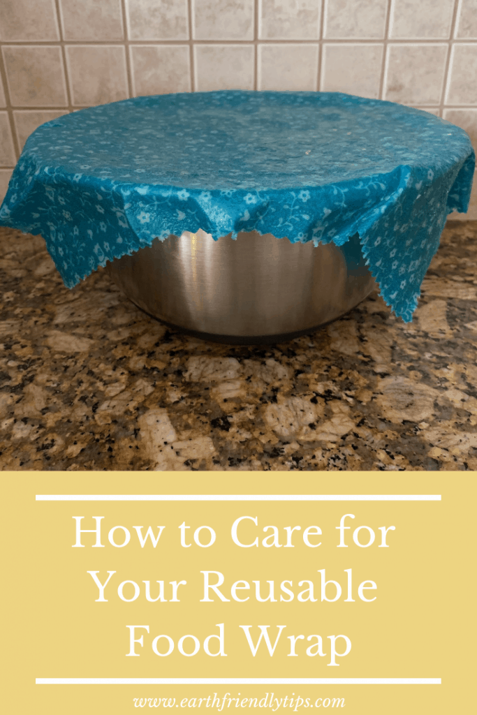 Bowl covered in blue reusable food wrap with text overlay How to Care For Your Reusable Food Wrap
