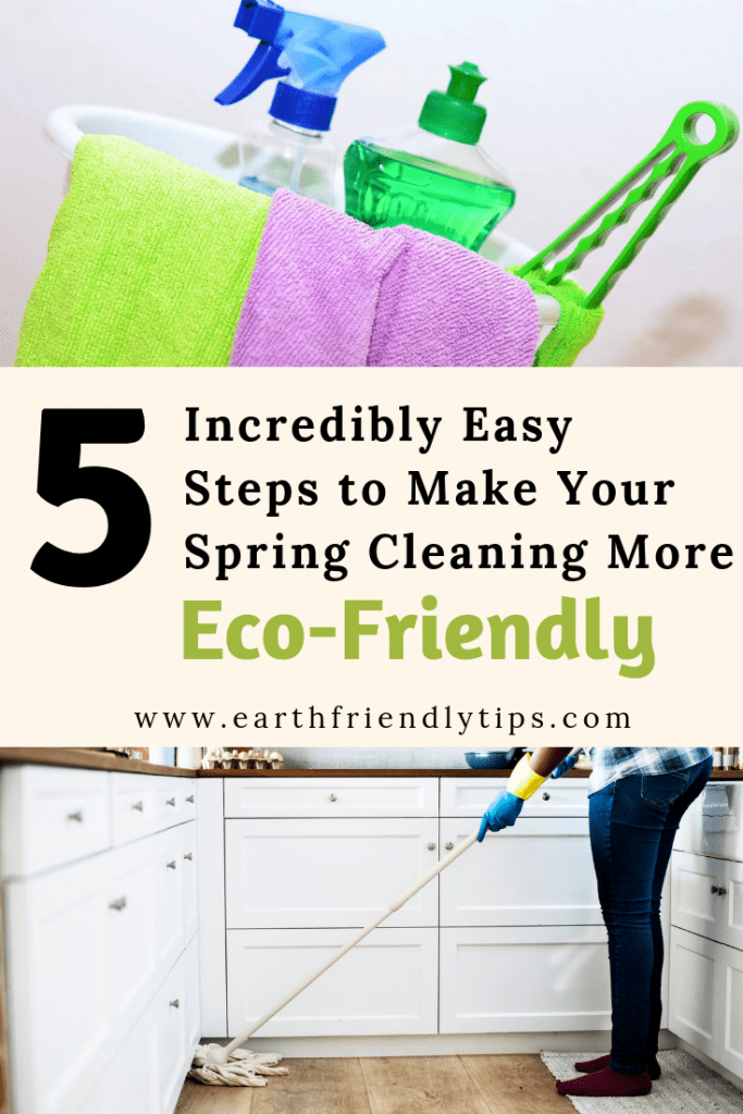 Bucket of cleaning supplies and woman mopping floor with text overlay 5 Incredibly Easy Steps to Make Your Spring Cleaning More Eco-Friendly