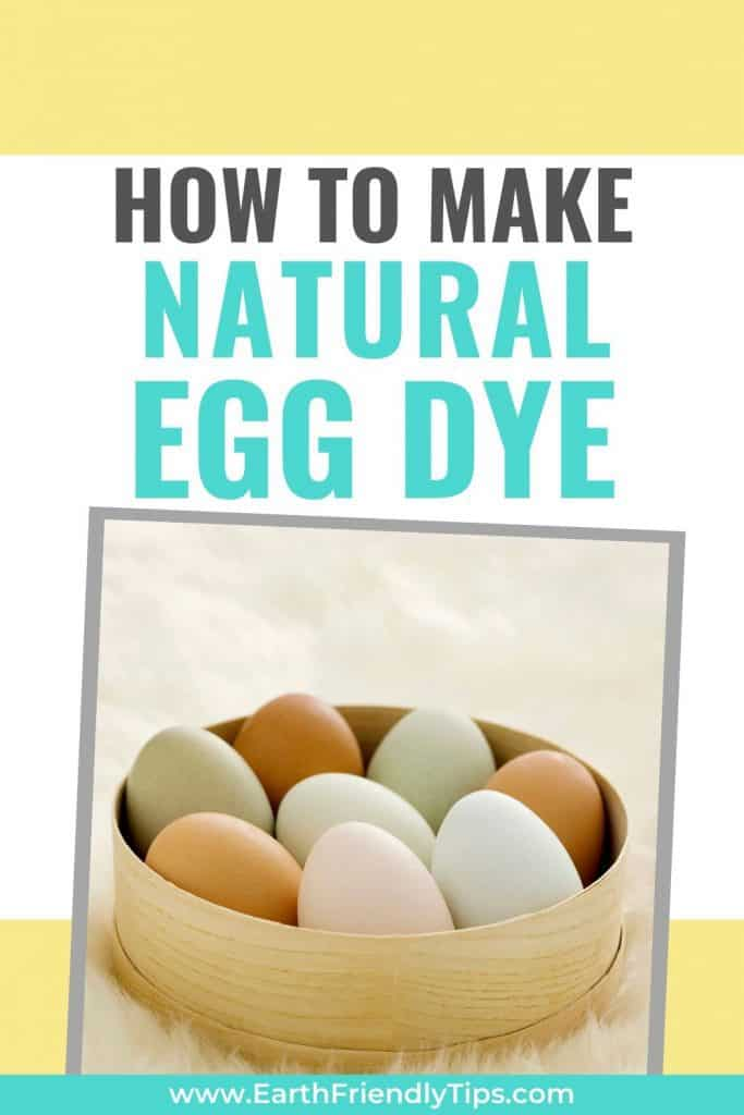 Dyed eggs in basket with text overlay How to Make Natural Egg Dye