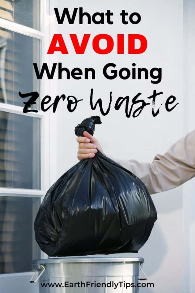 Man dropping garbage bag in can text overlay What to Avoid When Going Zero Waste