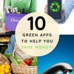 Woman holding recycling, smartphone with recycling symbol, vegetables in basket, faucet with water drop