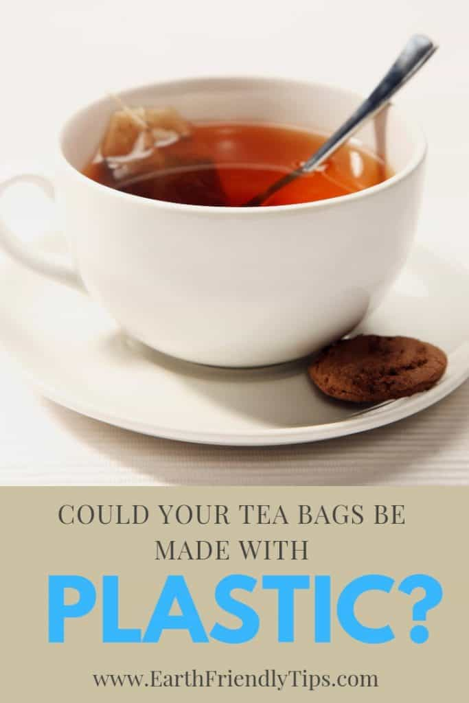White tea cup and saucer with tea bag, spoon, and cookie with text overlay Could Your Tea Bags Be Made With Plastic