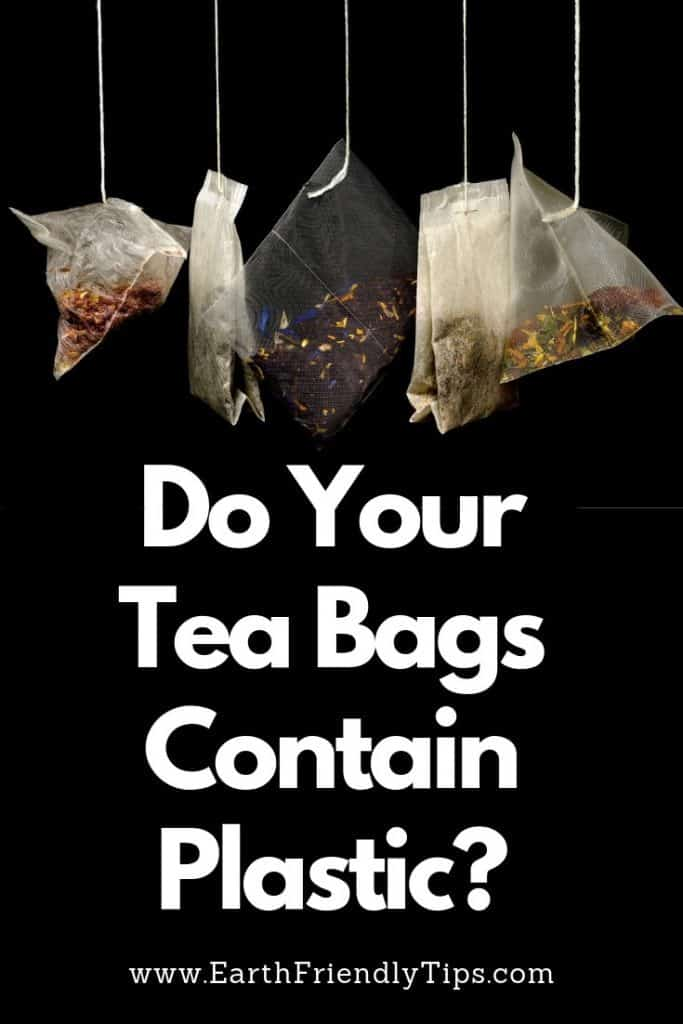 Five tea bags hanging over black background with text overlay Do Your Tea Bags Contain Plastic