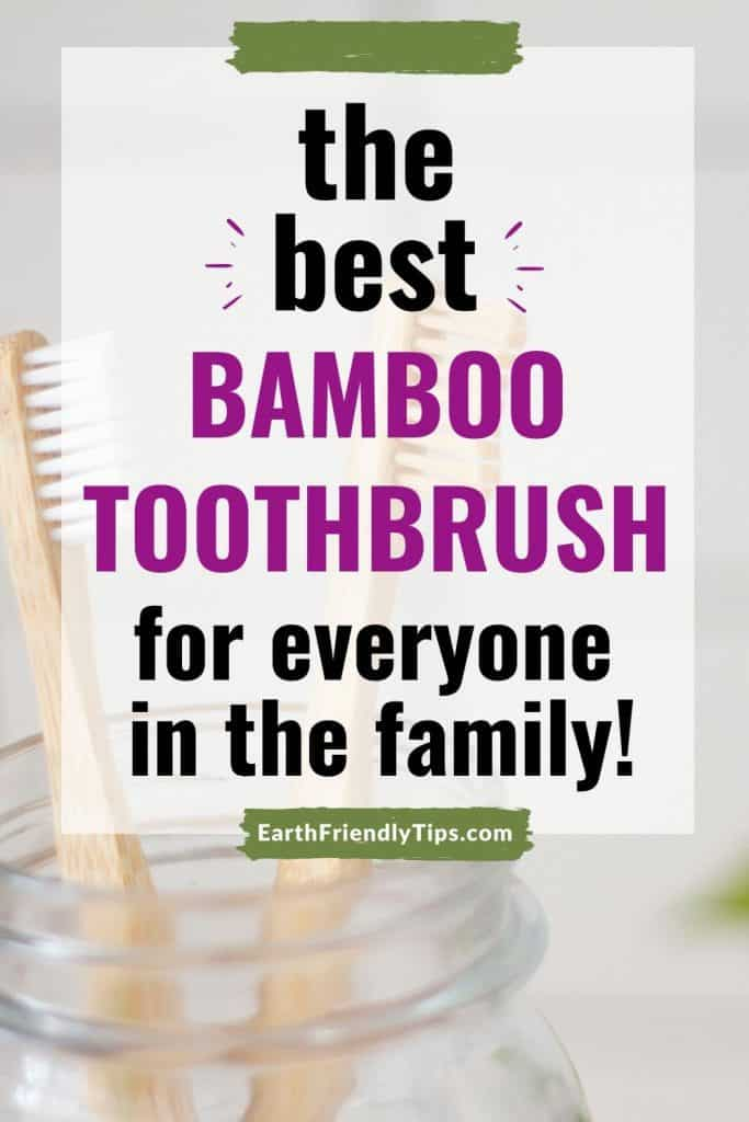Bamboo toothbrush in glass jar text overlay The Best Bamboo Toothbrush