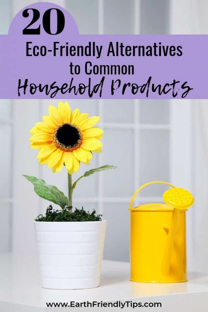 Sunflower and yellow watering can text overlay 20 Eco-Friendly Alternatives to Common Household Products