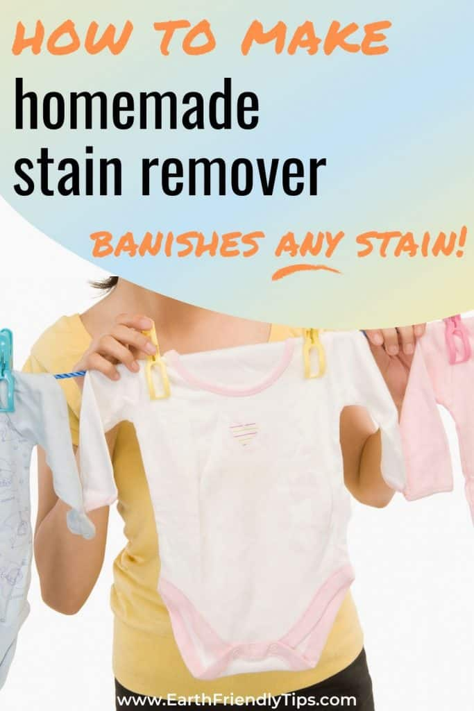 Woman hanging baby clothes text overlay How to Make Homemade Stain Remover