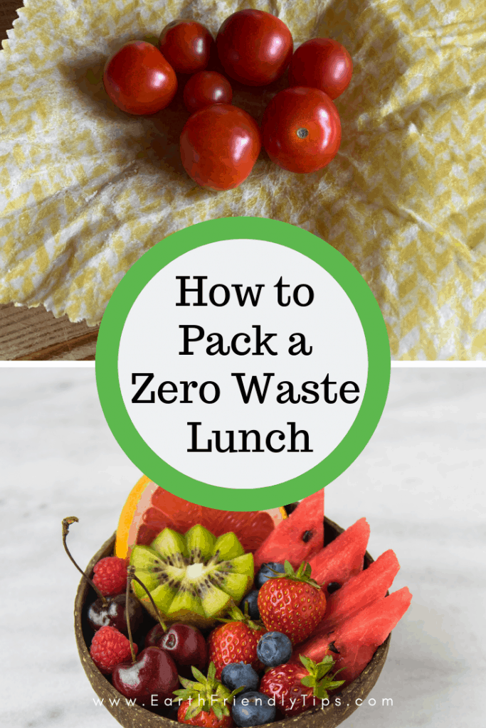 Tomatoes on reusable food wrap and fruit in natural bowl with text overlay How to Pack a Zero Waste Lunch