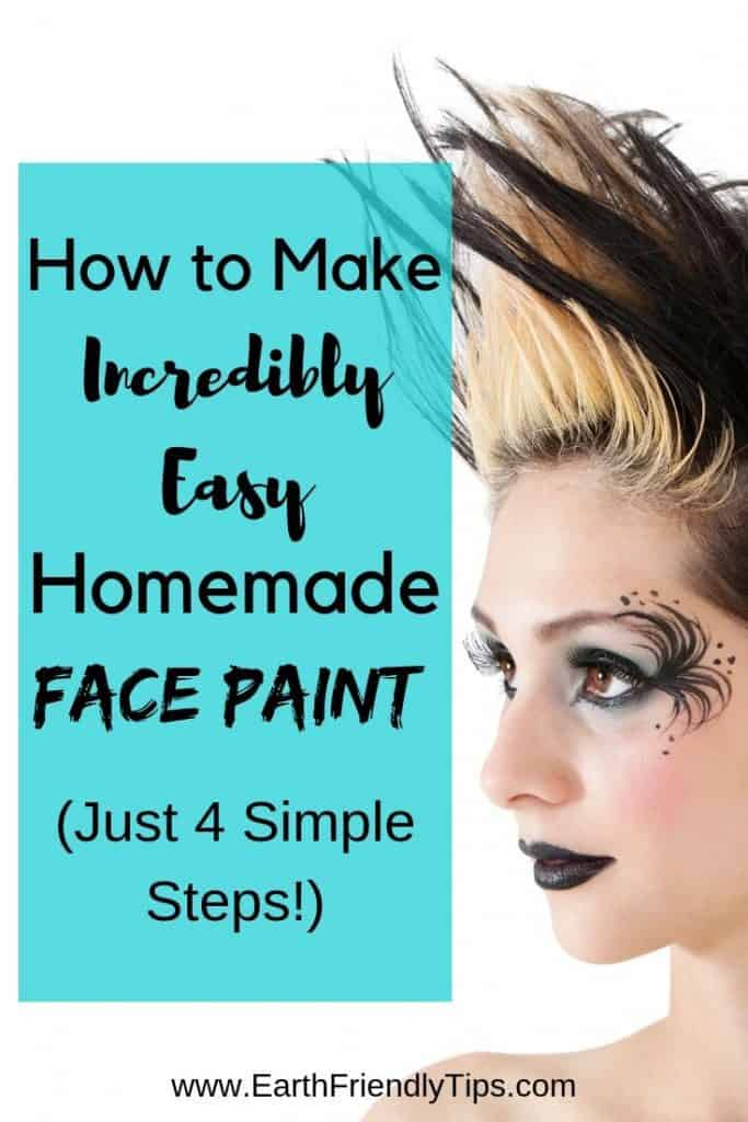 Gothic woman with spiked hair and face paint text overlay How to Make Incredibly Easy Homemade Face Paint