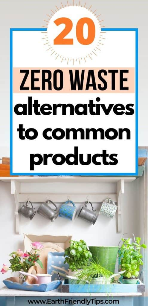 Cups and trays in kitchen text overlay 20 Zero Waste Alternatives to Common Products