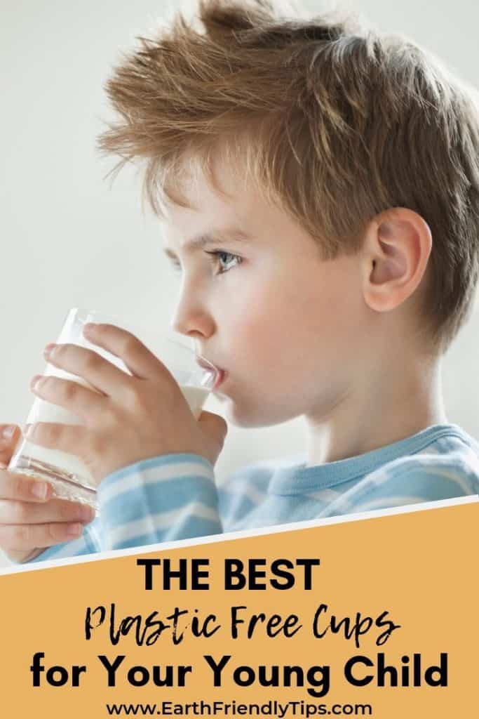 Young boy drinking from glass text overlay The Best Plastic Free Cups for Your Young Child