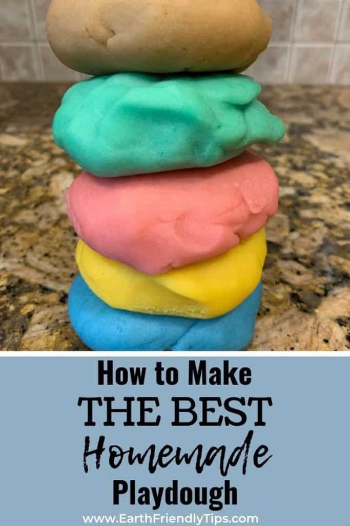 Stack of natural playdough with text overlay How to Make the Best Homemade Playdough