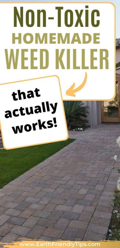 Paved pathway to home text overlay Non-Toxic Homemade Weed Killer