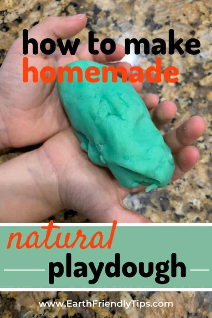 Child's hands holding playdough with text overlay How to Make Homemade Natural Playdough