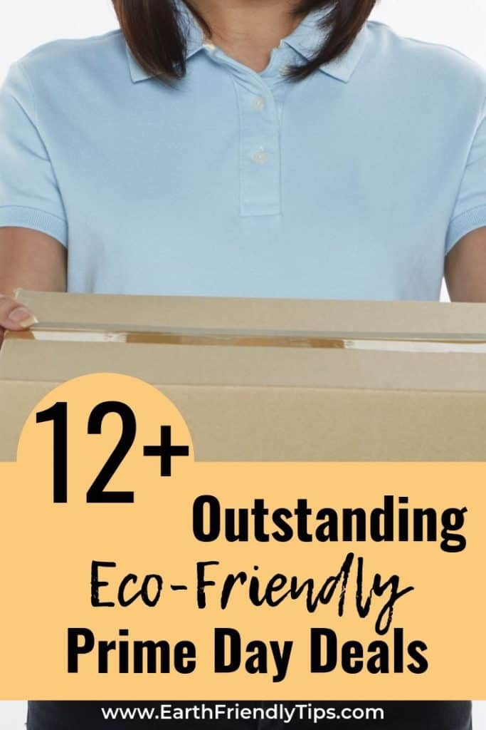 Woman holding box text overlay 12 Outstanding Eco-Friendly Prime Day Deals