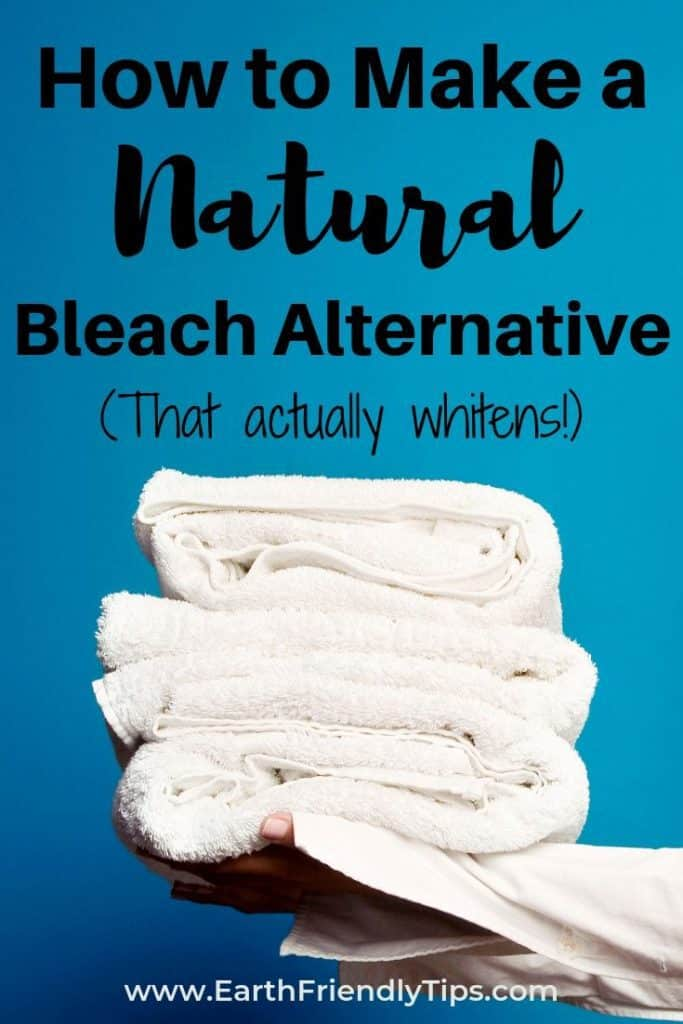 Hands holding stack of white towels with text overlay How to Make a Natural Bleach Alternative