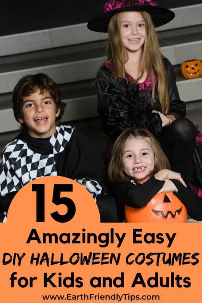 Children in DIY Halloween costumes sitting on steps