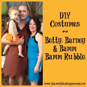 Homemade Barney, Betty, Bamm-Bamm Halloween costume
