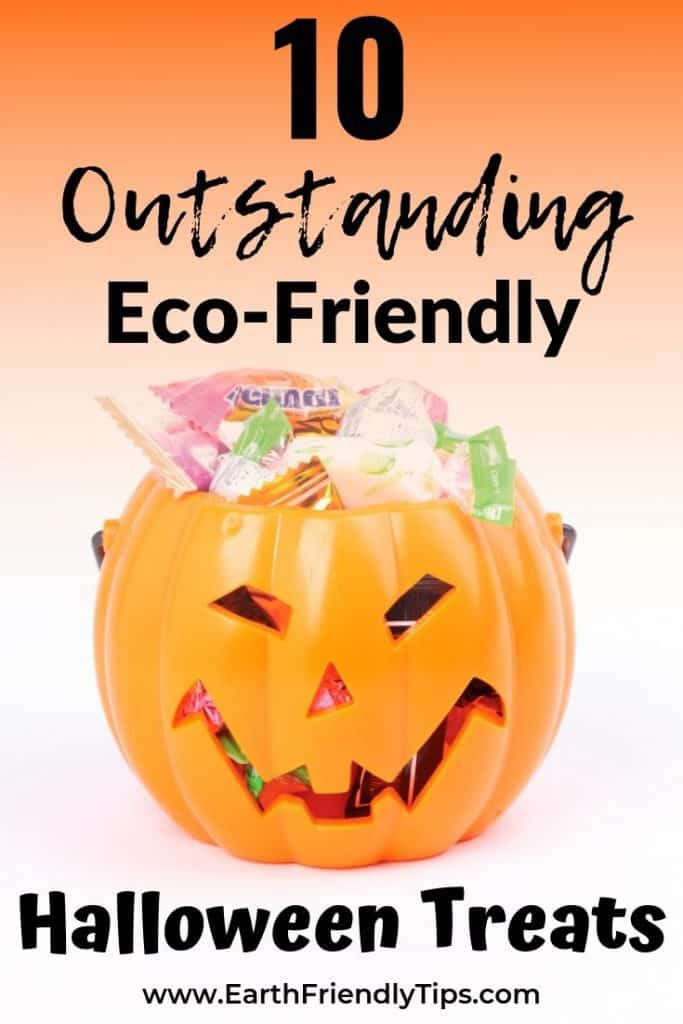 Orange plastic jack-o-lantern filled with eco-friendly Halloween treats
