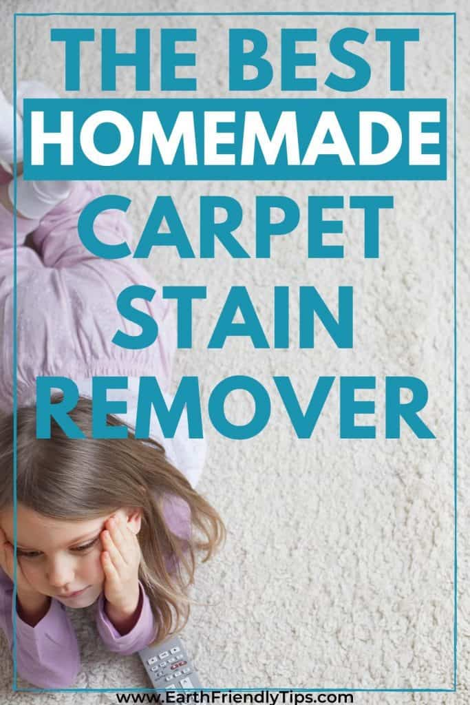Girl laying on carpet text overlay The Best Homemade Carpet Stain Remover