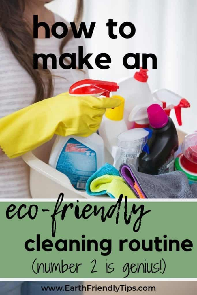 Midsection of woman carrying basket of cleaning supplies text overlay How to Make an Eco-Friendly Cleaning Routine