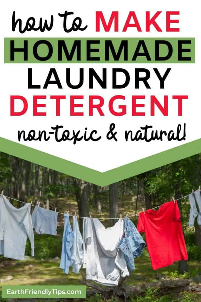 Clothing hanging on clothes line outside text overlay How to Make Homemade Laundry Detergent