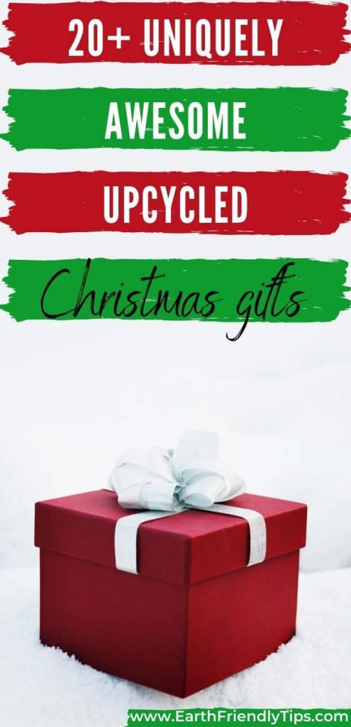 Red gift box in snow text overlay 20+ Uniquely Awesome Upcycled Christmas Gifts