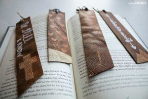 Upcycled leather bookmark