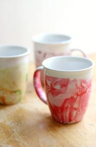 Upcycled DIY marbled mugs